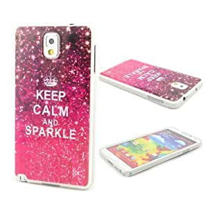 ATQ Bling Retro Keep Calm and Sparkle Gel TPU Soft Skin Case Cover for Samsung Galaxy Note 3 N9000 with Screen Protector by ruishername