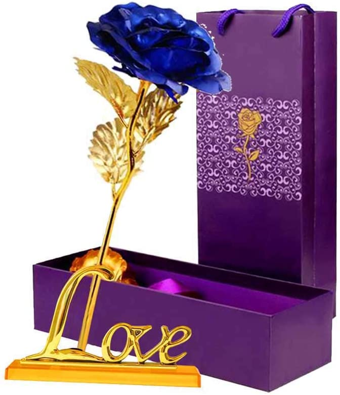 24K Gold Plated Galaxy Rose Valentine/'s Day Gift to Wife Girlfriend Love Present