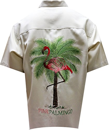 Bamboo Cay Mens Pink Palmingo, Button Front Embroidered Camp Shirt (X-Large, Cream) ()
