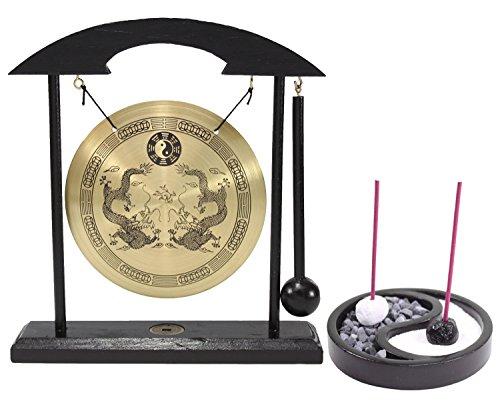 (Zen Garden Tabletop Taiji incense Holder & Gong Dragon with Taiji Symbols Feng Shui Meditation Desk Bell Home Decor Housewarming Congratulatory Blessing Gift (Set of 2)US Seller )