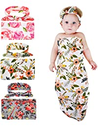 1-3 Pack BQUBO Newborn Floral Receiving Blankets Newborn...