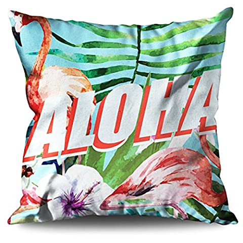 Aloha Hawaii Holiday Wild Flamingo Linen Cushion 18
