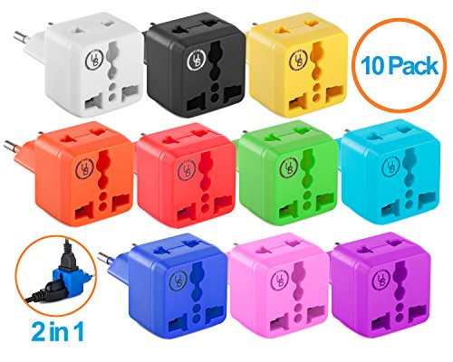European Plug Adapter by Yubi Power 2 in 1 Universal Travel Adapter with 2 Universal Outlets - 10 Pack - Multi Color - Type C for Europe, France, Germany, Russia, - Blue Light Norway