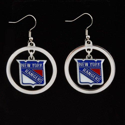 (NHL New York Rangers Floating Logo Hoop Earrings)