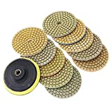 7 pcs +1pcs M14 Back-up Pad 4'' 100mm Diamond Flexible Wet Water Grinding Disc for Mable Stone Ceramic Tiles Polishing--Single Grit Set