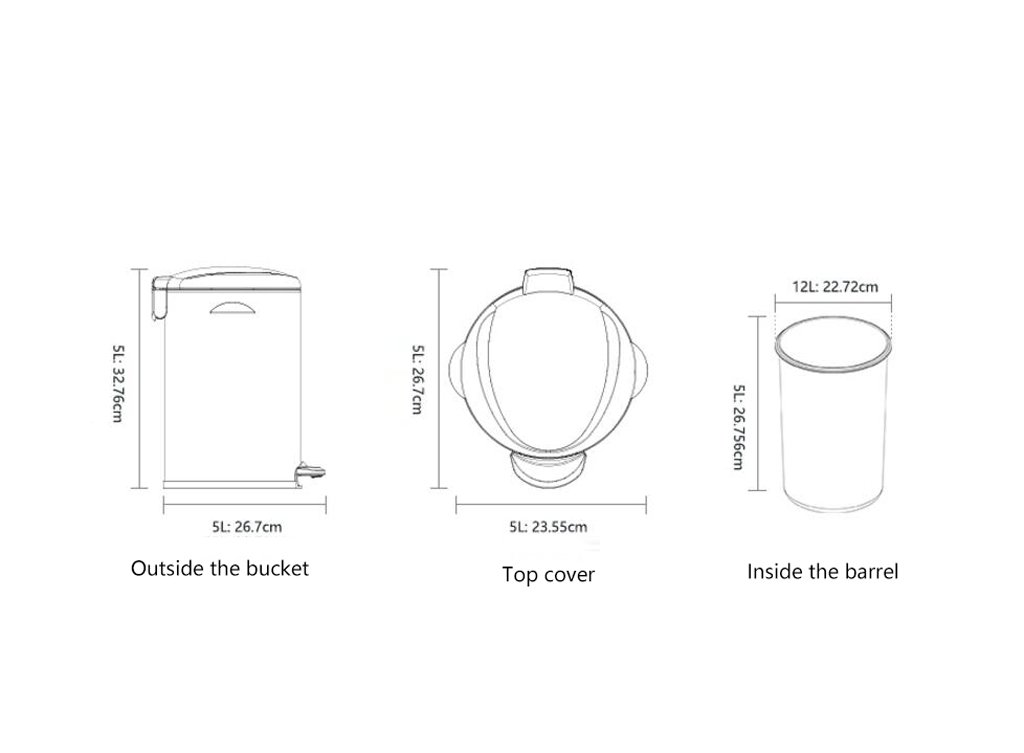 Stainless Steel Foot Trash Cans Household Kitchen Trash Toilet Office Cover Mute 5L ( Color : Sand steel ) by LITINGMEI Refuse Bin (Image #2)