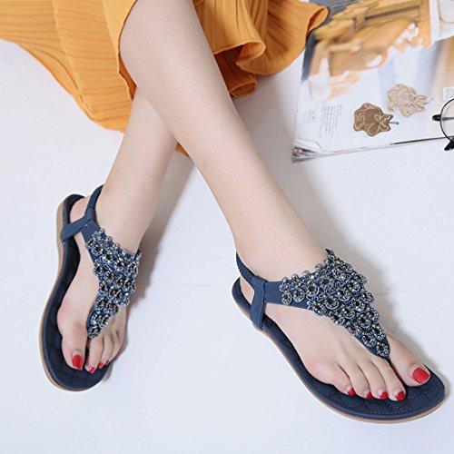 YIBLBOX Slip Schuhe Sandalen T on Flops Niedrige Flip Blau Casual Strap Womens 06 Strass Strand Wedges Sommer Wohnungen rxOrP