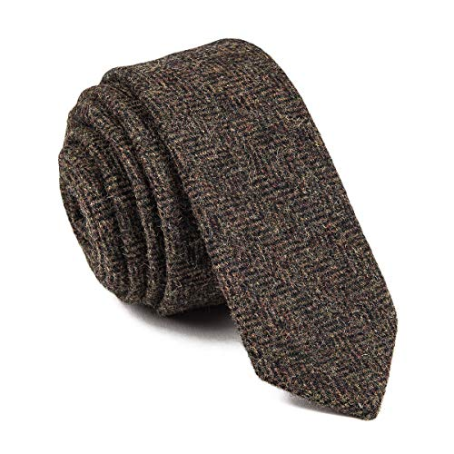- BOTVELA Mens Necktie Skinny Tie Tweed Pattern Woolen Neck Tie (18)