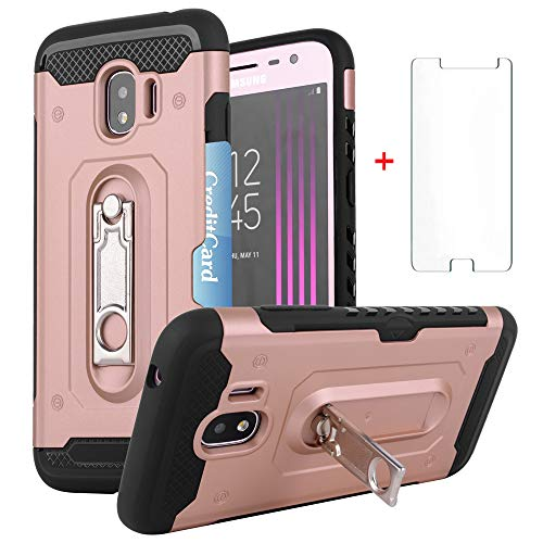 Samsung Galaxy J2 Pro 2018 Wallet Phone Case Women Girls Heavy Duty Hard Protective Cover with Tempered Glass Screen Protector Credit Card Holder Kickstand for Glaxay J 2 Pro J250M SM-J250M Rose Gold
