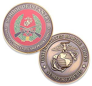 USMC School Of Infantry Camp Pendleton Challenge Coin - Marine Corps SOI Military Coins - Designed By Marines For Marines - Officially Licensed from Coins For Anything Inc