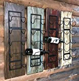 WINE RACK Wall Mounted - Rustic Distressed Wood - Vertical 5 Bottle Holder - Antique Barn Red, Off-White Cream, Brown (Wine Bottles not included)