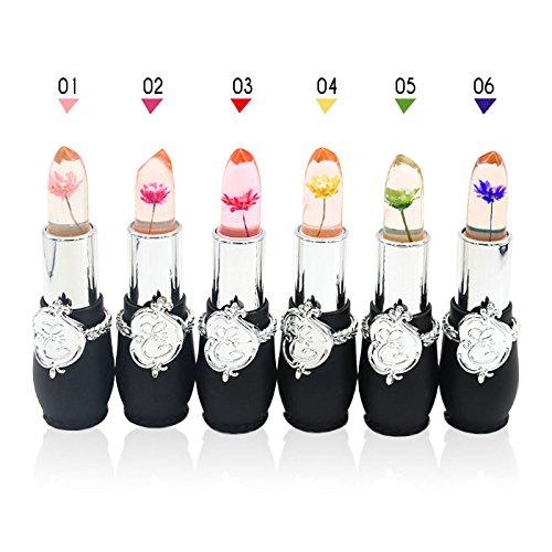 6Pcs/Set Beauty Bright Flower Crystal Jelly Lipstick Magic Temperature Change Color Lip Balm Makeup (Multicolor)