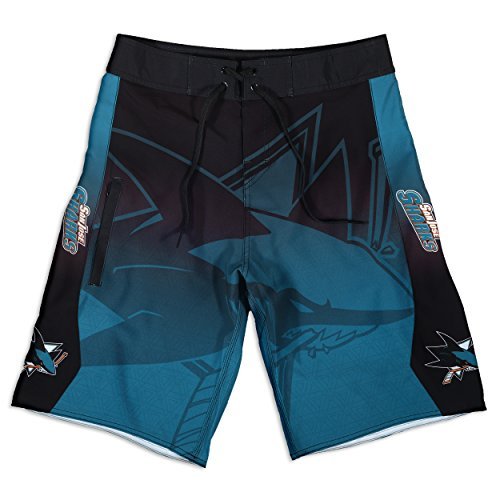 KLEW NHL San Jose Sharks Gradient Board Shorts, XX-Large, Blue
