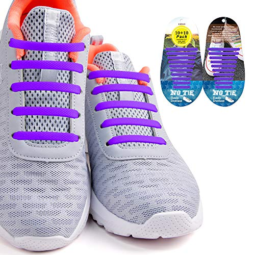 Adult Tie - No Tie Shoelaces for Kids and Adults, Tieless Elastic Rubber Kids Laces Waterproof Silicone Flat DIY Shoe Laces for Sneaker Boots Board Shoes 20Pcs No Tie Laces(Purple)