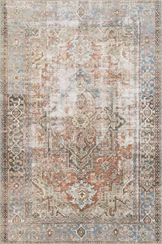 Loloi Loren Collection Vintage Printed Persian Area Rug 2 -6 x 7 -6 Runner Terracotta Sky
