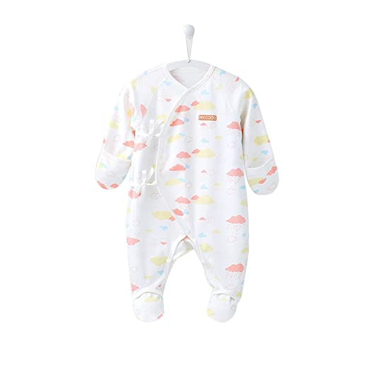 71be374ff COBROO Baby Footies Pajamas with Mittens Allover Cloud Print Sleeper 100%  Cotton Side-Belt