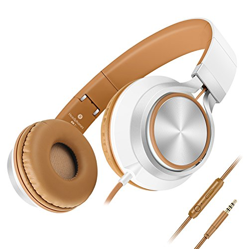 UPC 603827905888, Headphones,AILIHEN C8 Lightweight Foldable Headphones with Microphone and Volume Control for iPhone,iPad,iPod,Android Smartphones,PC,Laptop,Mac,Tablet,Headphone Headset for Music Gaming(White/Brown)