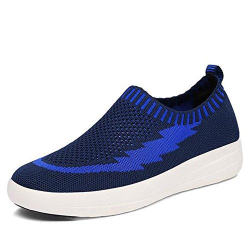 Zapatos Casuales para Mujer, Zapatillas Zapatillas atléticas Zapatillas de Deporte de Malla Casual - Zapatillas de Deporte Transpirables Zapatillas de Punto Lady Knit Lazy (Color : Azul, tamaño : 36) Azul
