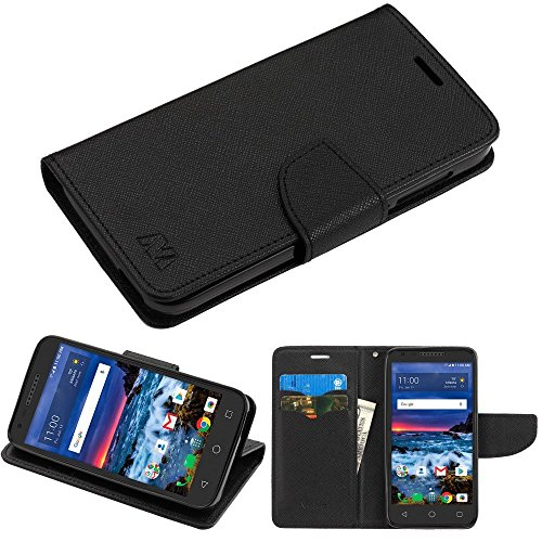 Alcatel Raven A574bl Wallet  Phonelicious Pu Leather Case Premium Pouch Id Credit Card Cover Flip Folio Book Style With Money Slot  Pen  Black Wallet