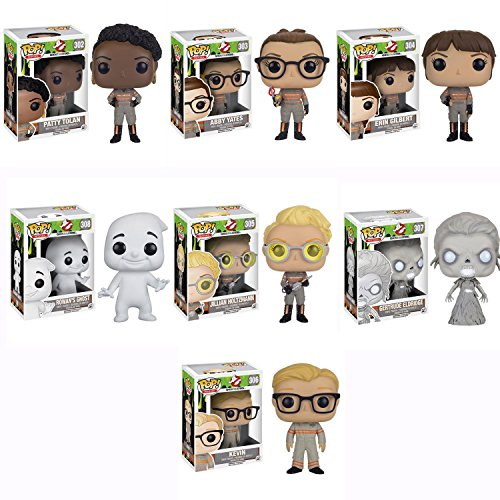 Ghostbusters 2016 Movie Patty Tolan,Abby Yates,Erin Gilbert,Jillian Holtzmann,Gertrude Eldridge,Rowan's Ghost,Kevin Pop! Vinyl Figures Set of 7
