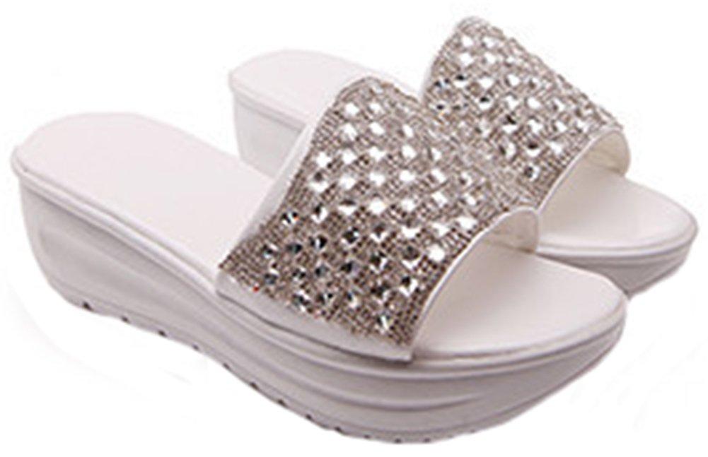 IDIFU Women's Fashion Rhinestone Mid Wedge Slide Sandals Beach Platform Slippers White 9 B(M) US