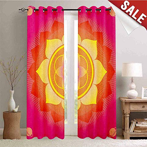 Hengshu Lotus Thermal Insulating Blackout Curtain Mandala with Planet Figures Cosmos Galaxy Themed Ethnic Graphic Art Print Blackout Draperies for Bedroom W72 x L108 Inch Hot Pink Yellow Red