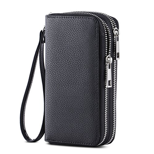 HAWEE Cellphone Wallet Dual Zipper Wristlet Purse with Credit Card Case/Coin Pouch/Smart Phone Pocket Soft Leather for Women or Lady, Black-Lichi ()