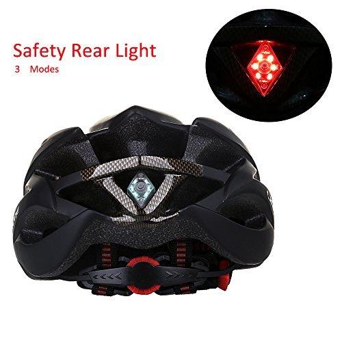 KINGBIKE Adult Bike Helmet, with Helmet Rain Cover/ Detachable Visor/ Safety Rear Led Light / Lightweight