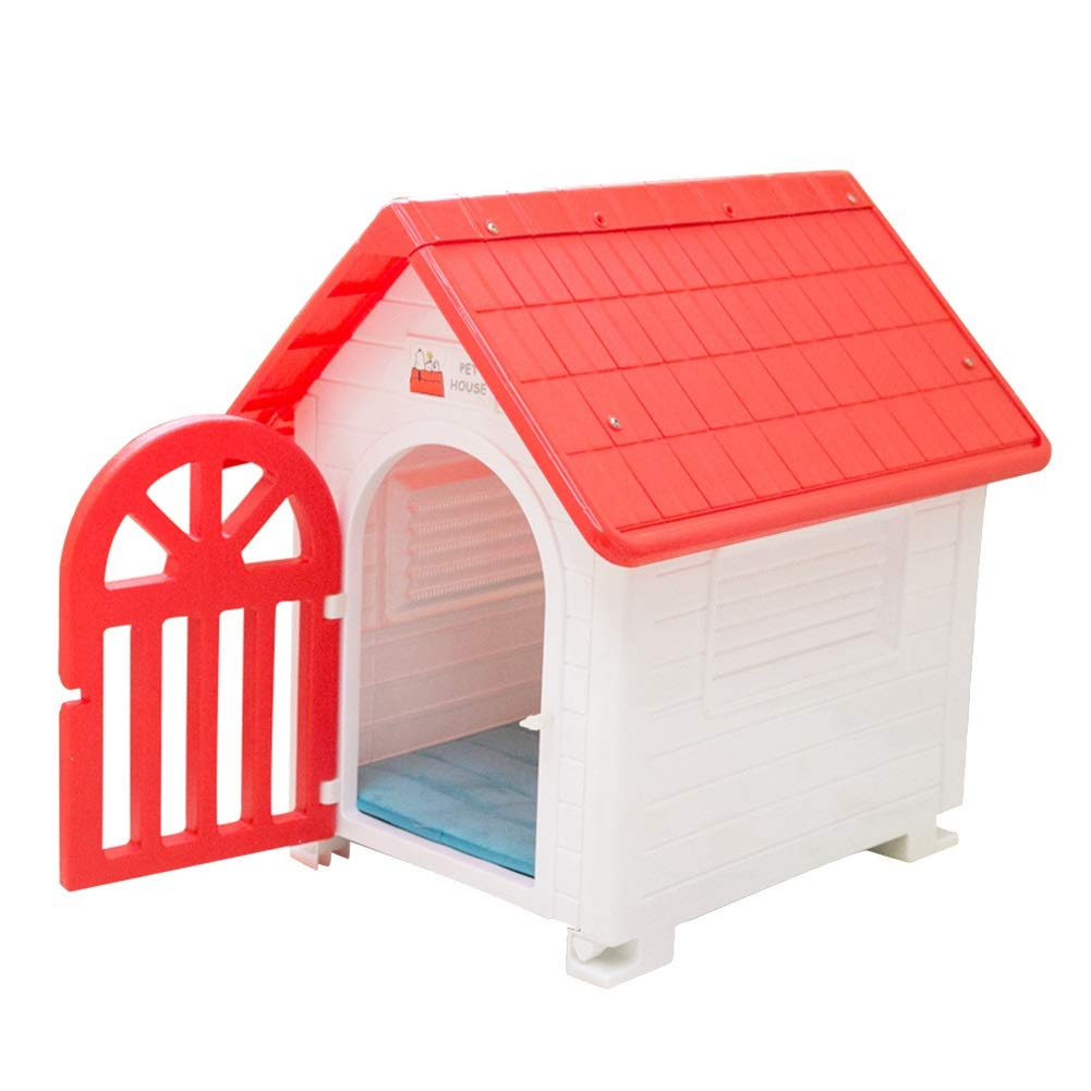 Red+white Pet Dog House Kennel Pet Room Small Dog Delivery Room Outdoor Dog Cage Waterproof Villa Supplies Max Load 13lbs (color   Red+White)