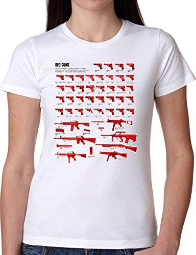 T SHIRT JODE GIRL GGG22 Z0855 RED GUNS CATALOGUE DESCRIPTION USA FUN FASHION COOL BIANCA - WHITE XL