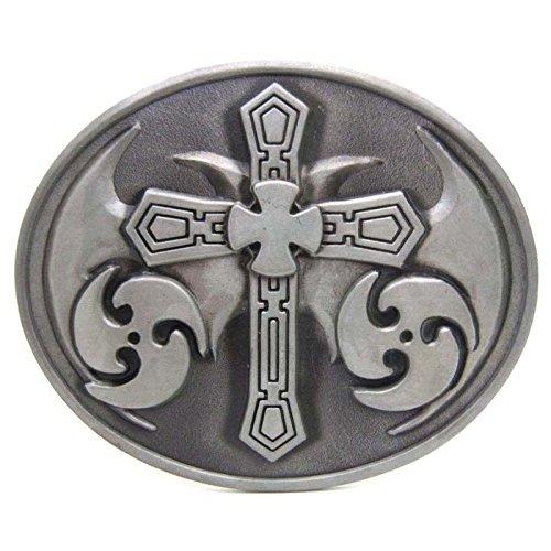 Silver Scriptures Cross Vintage Horseman Prayer Celtic Iron Cross Skull Cowboy Lot Leather Belt Buckle