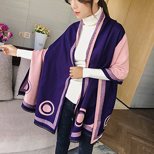 MH-RITA Autumn And Winter Scarf Shawl All-Match Dual-Purpose Long Thick Warm Scarf,Navy Blue Powder