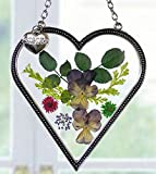 Sister Suncatcher - Glass Heart Shaped Suncatcher with Pressed Flowers and Engraved Sister Charm - 4 Inch