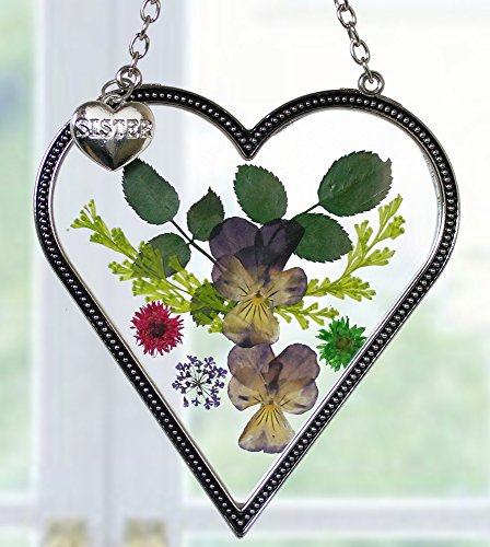 BANBERRY DESIGNS Sister Suncatcher - Glass Heart Shaped Suncatcher with Pressed Flowers and Engraved Sister Charm Sisters Gift- 4 Inch