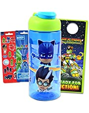 PJ Masks Plastic Water Bottle for Boys and Girls ~ 3pc Bundle with Catboy, Gekko, and Owlette Reusable Bottle For Home, School, and Sports, Stickers, and Door Hanger