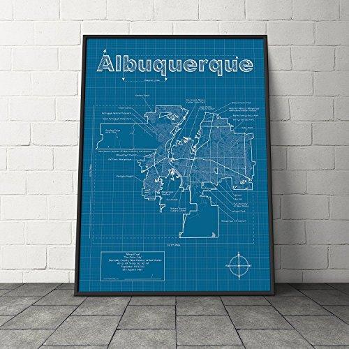 Albuquerque, New Mexico Map - Blueprint (Albuquerque New Mexico Street)