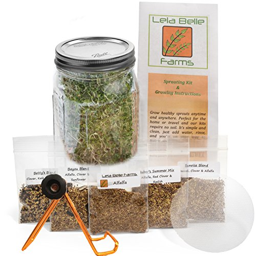 Sprout Life Country Mix Sprouter & Sprouting Kit with Sprout Stand and 5 Healthy Varieties of Sprouting Seeds