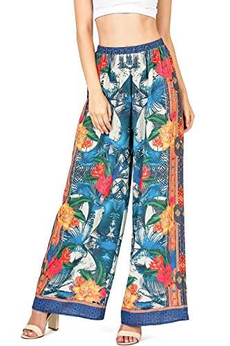 Flying Tomato Women's Juniors High Waist Wide Leg Floral Pants (L, Ivory) (Flying Tomato Blouse)
