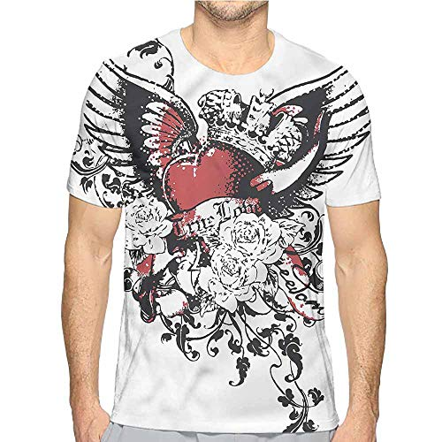 bybyhome t Shirt Printer Modern,Heart Crown Wings Tattoo Junior t Shirt M ()