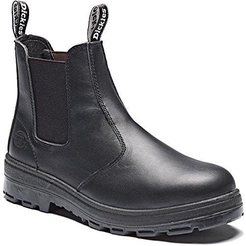 Dickies Mens Ontario trabajo con punta de acero botas de piel de la loción Negro - negro