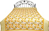 French-Vanilla Printed Reversible Blanket from Dehradun with Kantha Stitch - Pure Cotton