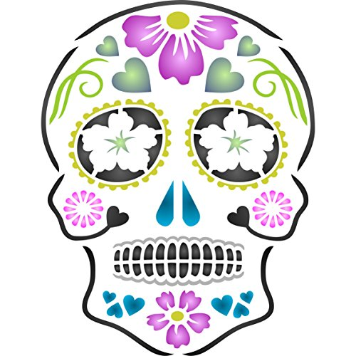 "Day of the Dead Sugar Skull Stencil - (size 6.5""w x 8.5""h) Reusable Wall Stencils for Painting - Halloween Decor Ideas - Use on Walls, Floors, Fabrics, Glass, Wood, and -"