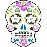 """Day of the Dead Sugar Skull Stencil - (size 5""""w x 6.5""""h) Reusable Wall Stencils for Painting - Halloween Decor Ideas - Use on Walls, Floors, Fabrics, Glass, Wood, and More…"""