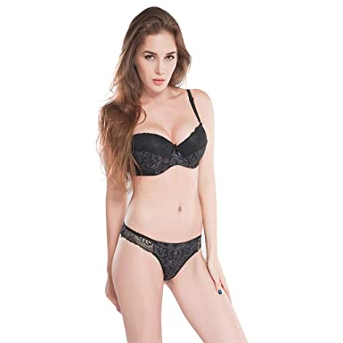 802ba8319 Women's Sexy Lace Bra Set Push Up Embroidered Lace Bra and Panty Set  Strappy Babydoll Bodysuit 2Pc Outfits at Amazon Women's Clothing store:
