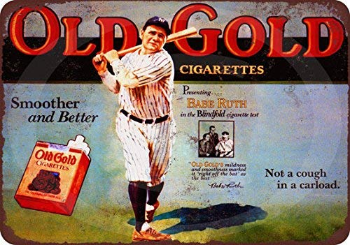 HarrodxBOX Babe Ruth for Old Gold Cigarettes Reproduction Vintage Retro Metal Wall Decor Art Shop Man Cave Bar Garage Aluminum 12 x 18 Sign