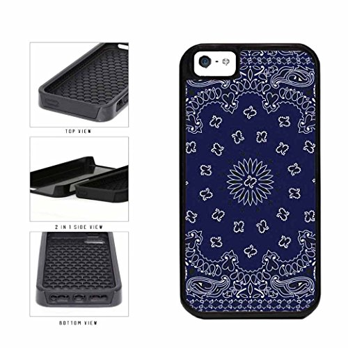 BleuReign(TM) Blue Bandana Paisley 2-Piece Dual Layer Phone Case Back Cover Apple iPhone 5 5s and iPhone SE