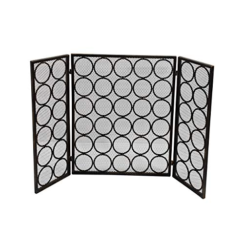 (Great Deal Furniture Koda Modern Three Panel Iron Firescreen, Black Gold Finish)