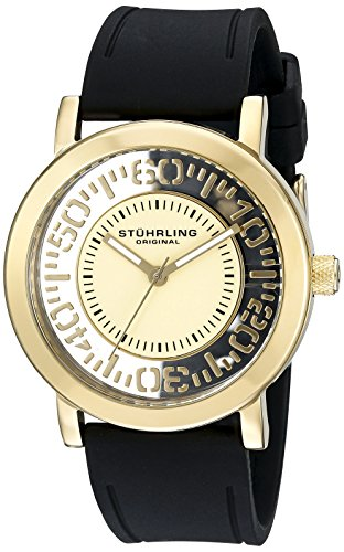 Stuhrling Original Men's 830.02 Symphony Quartz Tranparent Floating Dial Gold-Tone Rubber Strap Watch