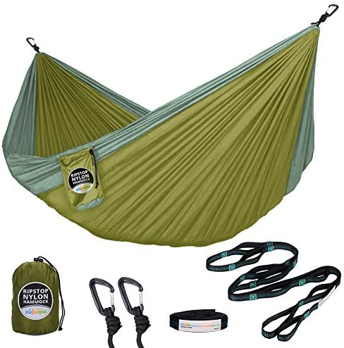 Zupapa Double Camping Hammock with Enforced Tree Straps Ultralight Carabiners, Lightweight Tear Resistant Nylon Hammocks for Hiking, Travel, Beach, Backyard Easy to Fit in Your Backpack