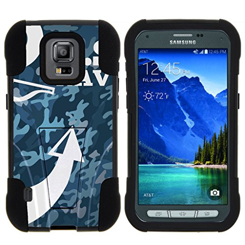 TurtleArmor | Samsung Galaxy S5 Active Case | G870 [Gel Max] Impact Proof Cover Hard Kickstand Hybrid Fitted Shock Silicone Shell Military War Camo Design - U.S. Navy Camo